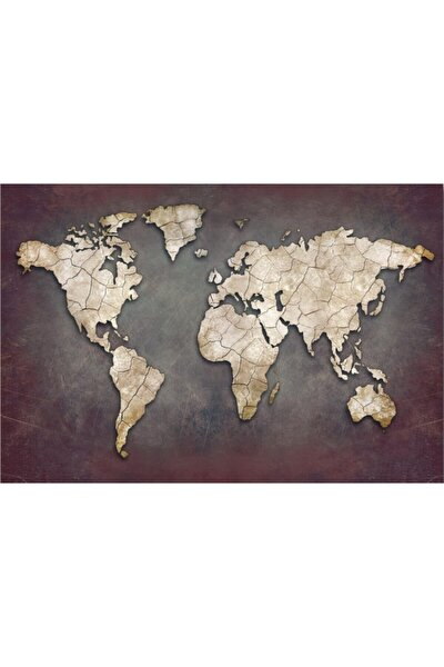 Dünya Haritası Dekoratif Kanvas Tablo