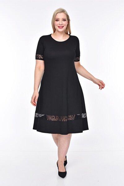 Kadın Siyah Şerit Tül Detaylı Büyük Beden Elbise