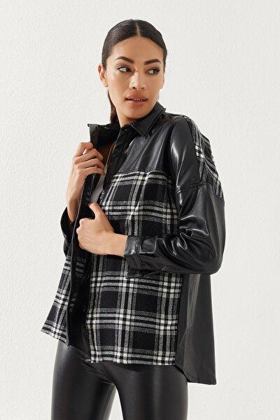 Kadın Oversize Ekose Gömlek Siyah