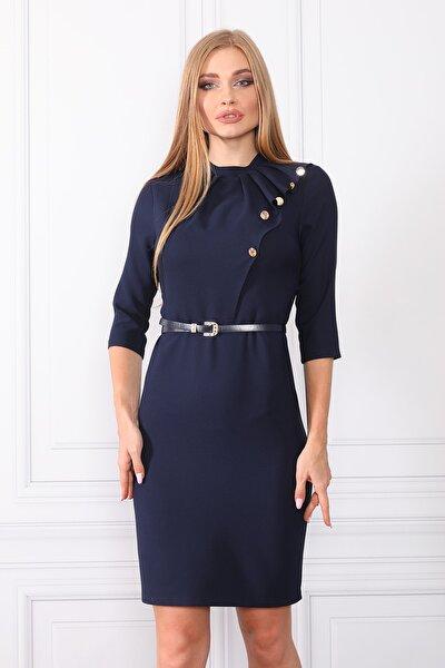 Düğme Detaylı Kemerli Elbise