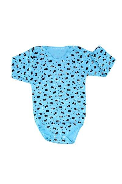 B Yazılı Şimşek Basklı Erkek Çocuk Ve Bebe Çıtçıtlı Badi - Açık Mavi - 3 Yaş