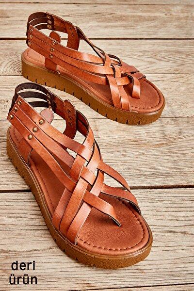 Hakiki Deri Taba Kadın Sandalet L0529030503