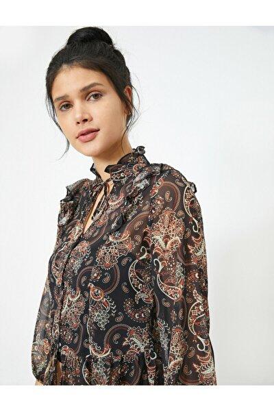 Kadın Volanli Uzun Kollu Çiçek Desenli Bluz