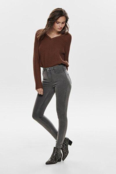 Kadın Gri Dar Paça Yüksek Bel Jeans 15184826 Onlfhı-rıse 15184826