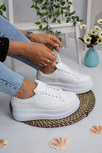 Yüksek Taban Beyaz Spor Ayakkabı