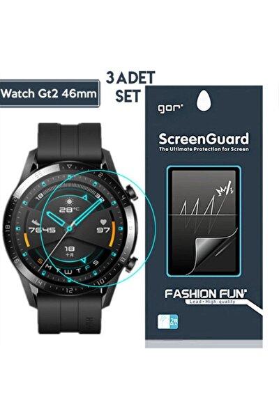 Gor Huawei Watch Gt 2 46mm Darbe Emici Ekran Koruyucu 3 Adet Set - Şeffaf