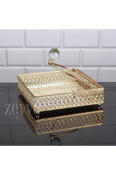 Lulu Kare Peçetelik Metal Aynalı Gold Renk