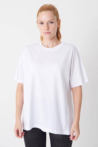 Kadın Beyaz Oversize Basic T-Shirt P0730 - J6J7 Adx-0000020569