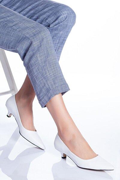 Odella Topuklu Ayakkabı Beyaz Cilt