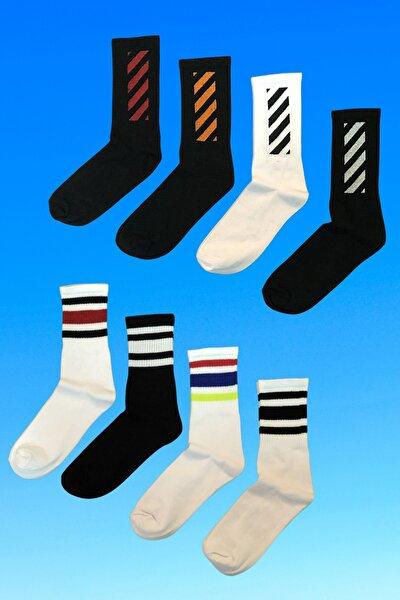 Spor Çok Renkli Desenli Unisex Çorap/8 Çift-çzg8