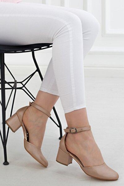 Pudra Kısa Topuk Bilekten Bağlama Kadın Günlük Sandalet • A192yakt0011