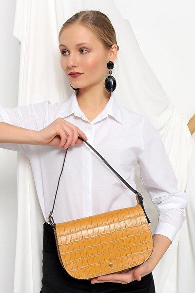 Kroko Desen Kapaklı Baguette Bag