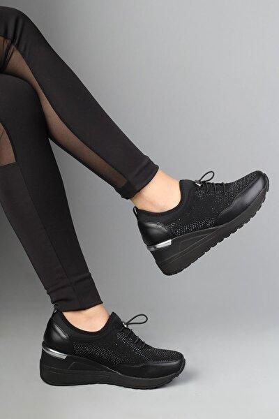 Siyah Taşlı Dolgu Topuklu Kadın Ayakkabı - Stonestar