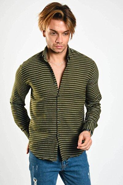 Erkek Baskılı Likralı Haki Gömlek - 46831