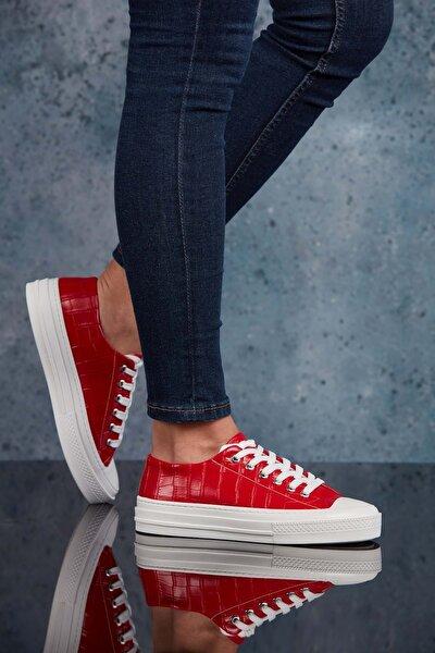 Kırmızı Krokodil Kadın Sneaker