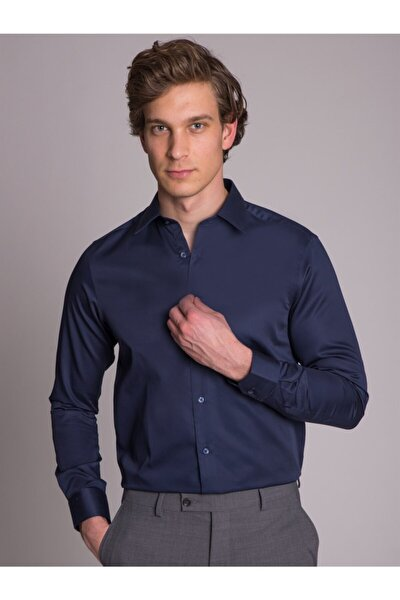 Lacivert Düz Pamuklu Erkek Gömlek - Slım Fıt