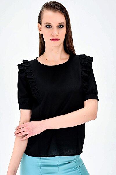 Sıfır Yaka Omuz Fırfır Detaylı Kısa Kol Şık Ofis Bluz-siyah