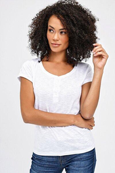 Lycrasız Pamuk Sıfır Yaka Patlı Kısa Kol Apoletli Bluz - Beyaz