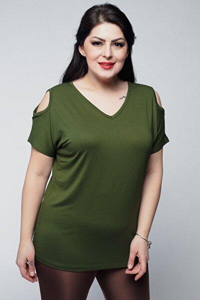 Kadın Büyük Beden V Yaka Basic Omuz Dekolteli Haki Tişört