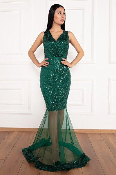 Keanna 13210 Pulpayet Tül Detaylı Uzun Elbise