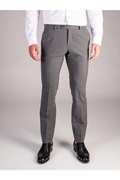 Açık Gri Melanj Düz Bez Ayağı Dokuma Kumaş Erkek Pantolon - Regular Fıt