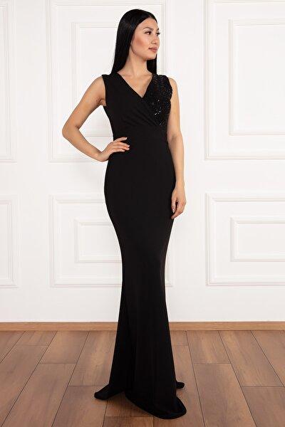 Ophelia 13213 Krep V Yaka Uzun Elbise