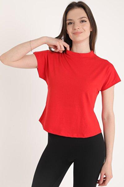 Kadın Dik Yaka Kısa Kol T-shirt/kırmızı/s