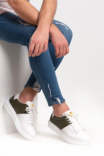 201761 Beyaz Yesıl Erkek Casual Ayakkabı