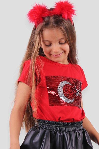 Kız Çocuk T-shirt Pullu Kırmızı Ay Yıldızlı (4-14 Yaş)