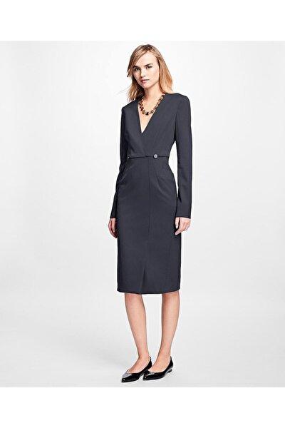 Kadın Lacivert Uzun Kollu Kruvaze Elbise