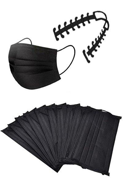 10 Adet Siyah Telli 3 Katlı Ultrasonik Cerrahi Yüz Maskesi+10 Adet Maske Takma Aparatı