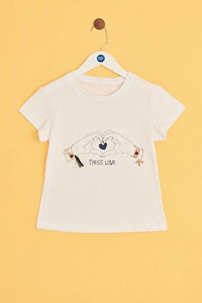 Kız Çocuk Ekru T-shirt