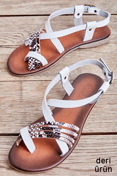 Beyaz/siy-bey. Yılan Kadın Sandalet L0685162303
