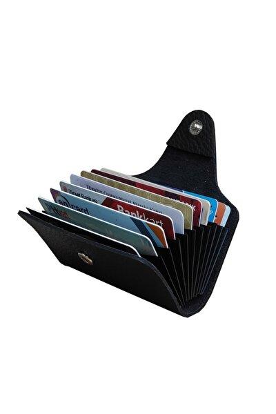 Unisex 10 Bölmeli Yeni Küçük Kalıp Siyah Kredi Kartlık - Cüzdan