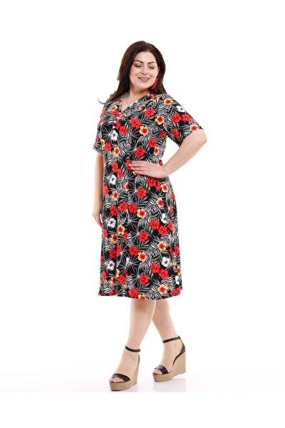 Kadın Büyük Beden Elbise Kısa Kollu Kırmızı Çiçekli