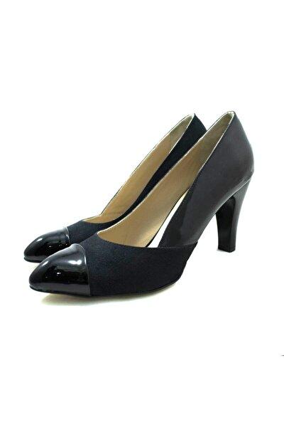 1432 Siyah Rugan & Süet Büyük Numara Kadın Ayakkabı