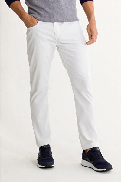 Erkek Beyaz 5 Cepli Armürlü Slim Fit Pantolon A01s3076