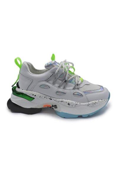 K202-3024 Beyaz Kadın Kalın Taban Spor Ayakkabı