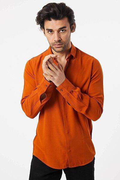 Erkek Viskon Gofre Kahverengi Gömlek
