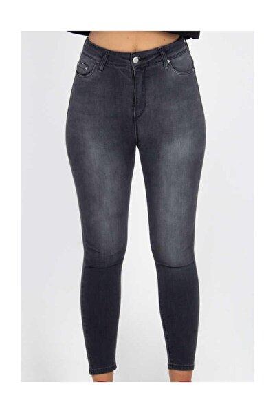 Yüksek Bel Dar Paça Pantolon - Füme Füme 32