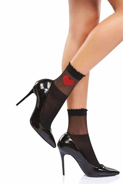 2 Çift Kalpli Transparan Soket Çorap