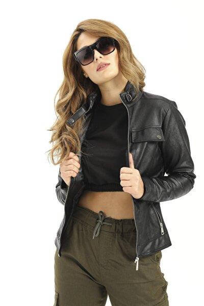 Kadın Cep Fermuarlı Kısa Siyah Deri Ceket 1024