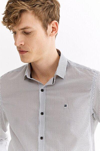 Erkek Beyaz Baskılı Klasik Yaka Slim Fit Gömlek A01s2262
