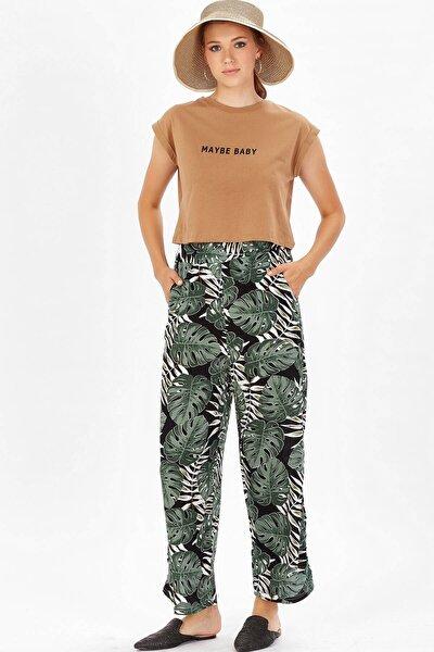 Bol Paça Desenli Pantolon - Yeşil Çiçek