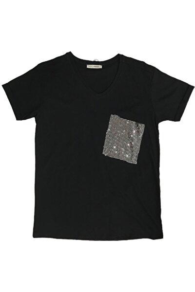 Kadın V Yaka Taşlı Tshirt