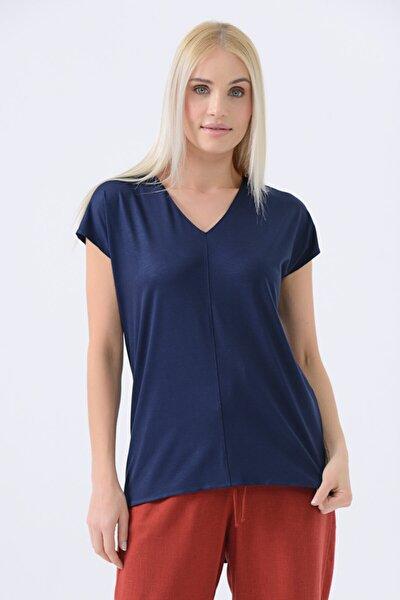 V Yakalı T-shirt - Lacivert