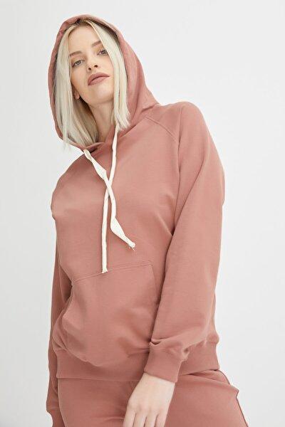 Kapüşonlu Sweatshirt - Gül Kurusu