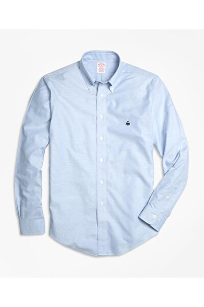 Erkek Mavi Non-iron Oxford Madison Kesim Spor Gömlek