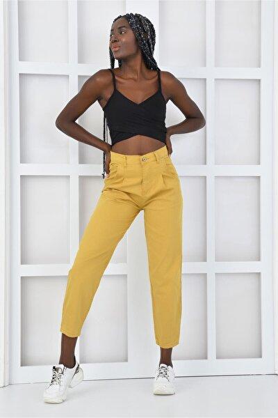 Kadın Sarı Pileli Likralı Balon Pantolon