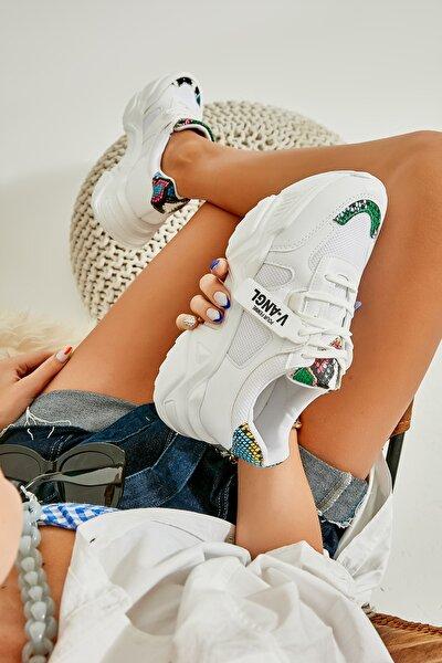 Beyaz Çok Renkli Kadın Sneaker K01512438309